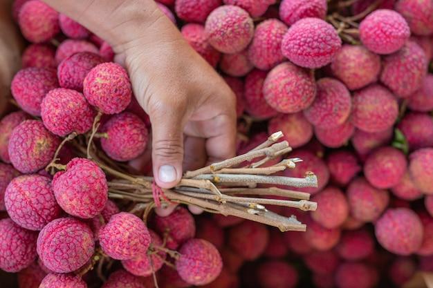 Zbliżenie owoców liczi