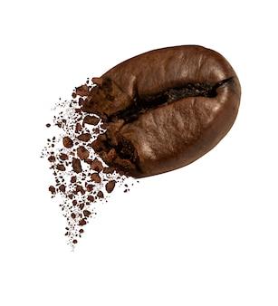 Zbliżenie pęknięcia ziaren kawy