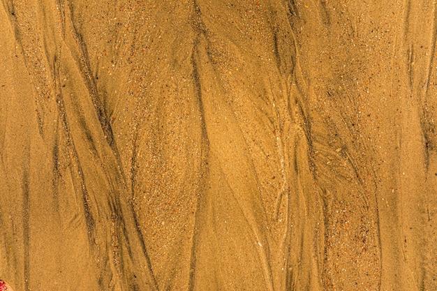 Zbliżenie piasku z dróg pływowych i muszli na plaży pełnej klatki tekstury tła
