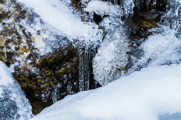 Zbliżenie płynącej wody z zamarzniętą skałą zimą