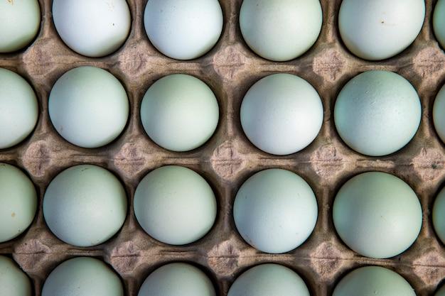 Zbliżenie pole jaja kurze z wolnego wybiegu na stoisku rynku hurtowego. miasto sao paulo, brazylia