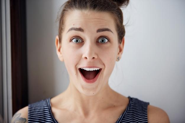 Zbliżenie portret kobiety patrząc zaskoczony w pełne niedowierzanie szeroko otwarte usta na białym tle szarej ścianie