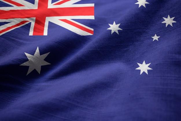 Zbliżenie potargane australia flaga, flaga australii wiejący wiatr