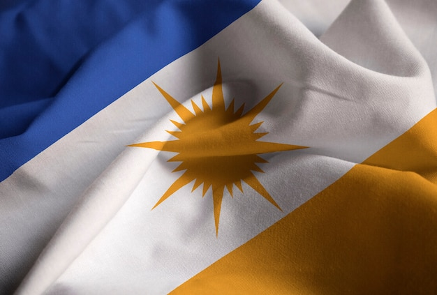 Zbliżenie potargane bandeira zrobić flaga tocantins, bandeira czy tocantins flaga wiejący wiatr