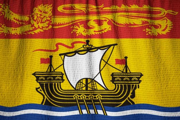 Zbliżenie potargane nowe brunszwick flagi, nowy brunszwicki flaga wiejący wiatr