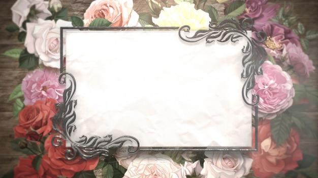 Zbliżenie rama z kwiatami, tło wesele. elegancka i luksusowa ilustracja 3d w pastelowym stylu