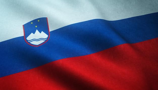 Zbliżenie realistyczne flagi słowenii z ciekawymi teksturami