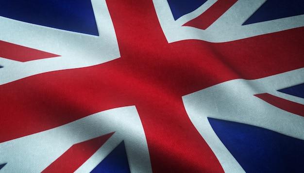 Zbliżenie realistyczne flagi wielkiej brytanii z ciekawymi teksturami