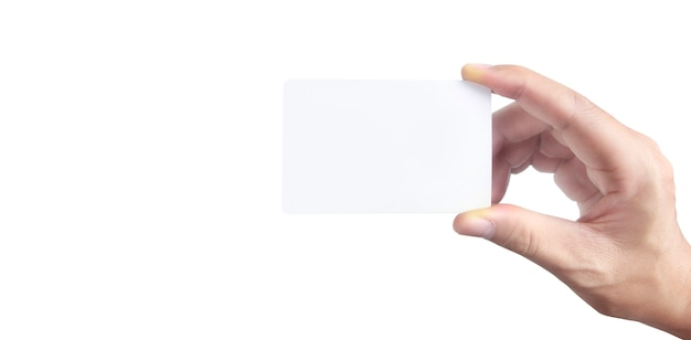 Zbliżenie ręki trzymającej kartę wirtualną z. karta kredytowa w ręku na białym tle