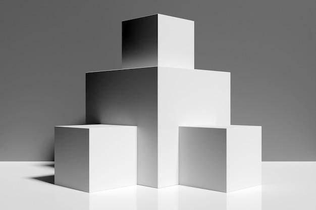 Zbliżenie renderowania 3d piramidy równoramiennej bieli