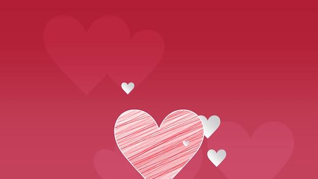 Zbliżenie romantyczne duże i małe serca na czerwonym tle walentynki. luksusowa i elegancka dynamiczna ilustracja 3d na romantyczne wakacje