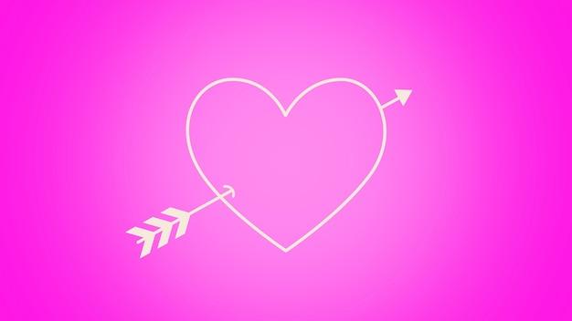 Zbliżenie romantyczne różowe serce ze strzałką na tle walentynki. luksusowa i elegancka dynamiczna ilustracja 3d na romantyczne wakacje