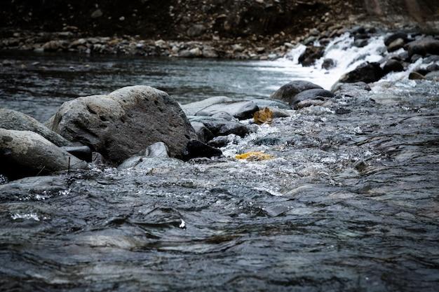 Zbliżenie skały w wodnym krajobrazie