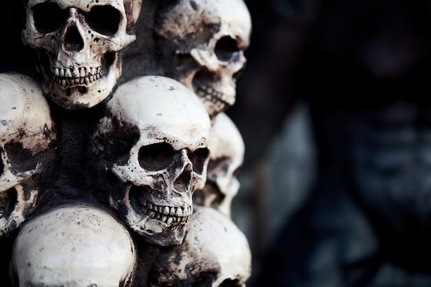 Zbliżenie starej dekoracji czaszki
