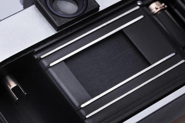 Zbliżenie stary retro ekranowy kamera obiektyw