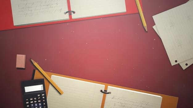 Zbliżenie stół ucznia z notatnikiem i kalkulatorem, tło szkoły. elegancka i luksusowa ilustracja motywu edukacyjnego