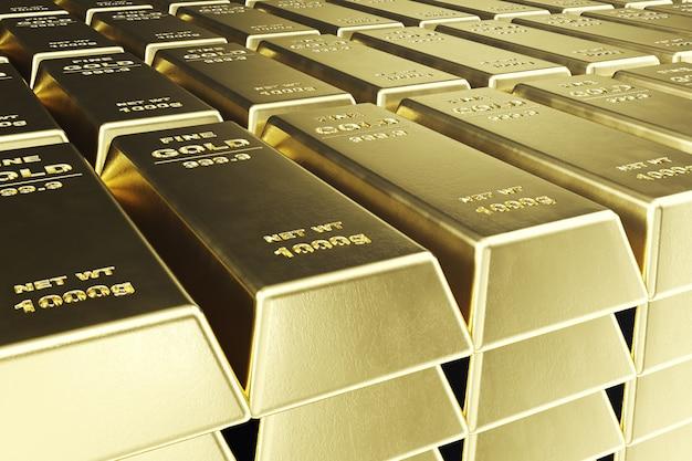 Zbliżenie stosu sztabek złota, waga sztabek złota 1000 gramów pojęcie bogactwa i rezerwy. pojęcie sukcesu w biznesie i finansach. renderowania 3d