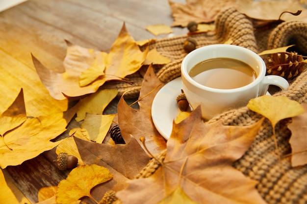 Zbliżenie strzał filiżanki kawy i jesiennych liści