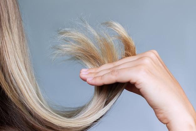Zbliżenie suchych rozdwojonych końcówek w dłoni kobiety o blond włosach na szarym tle