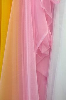 Zbliżenie szczegół wielo- kolor tkaniny tekstura