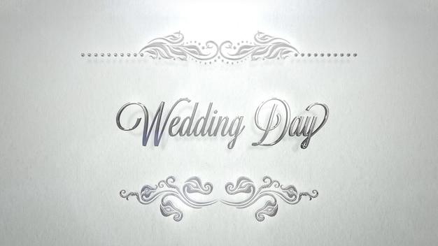 Zbliżenie tekst dzień ślubu i luksusowe ramki, tło wesele. elegancki i luksusowy pastelowy styl ilustracji 3d