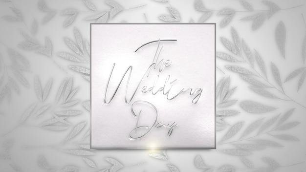Zbliżenie tekst zaproszenia ślubne i białe letnie kwiaty, tło wesele. elegancki i luksusowy pastelowy styl ilustracji 3d