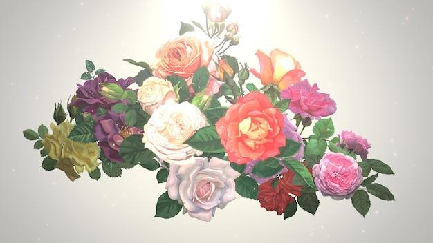 Zbliżenie vintage kwiaty, tło wesele. elegancka i luksusowa ilustracja 3d w pastelowym stylu