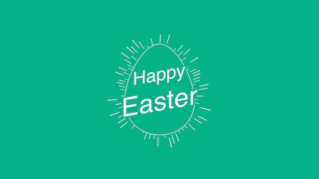 Zbliżenie wesołych świąt tekst i jajko na zielonym tle. luksusowy i elegancki szablon w dynamicznym stylu na wakacje