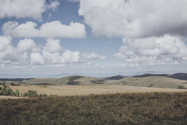 Zbliżenie widok góry i sceny doliny w parku narodowym dombai, kaukaz, rosja, europa. letni krajobraz, słoneczna pogoda, dramatyczne błękitne niebo i słoneczny dzień
