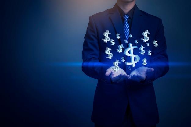 Zbliżenie wizerunek biznesmen ręki mienia pieniądze, biznesowy pojęcie