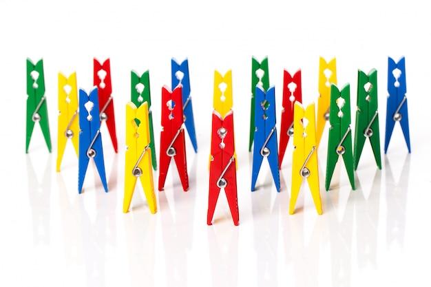 Zbliżenie wizerunek kolorowi clothespins