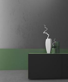 Zbliżenie wnętrza mieszkalnej makiety z miejscem na tekst, zielona i klasyczna szara ściana, nowoczesna i minimalistyczna szafka tv, minimalistyczny design, wazony dekoracyjne. ilustracja 3d.