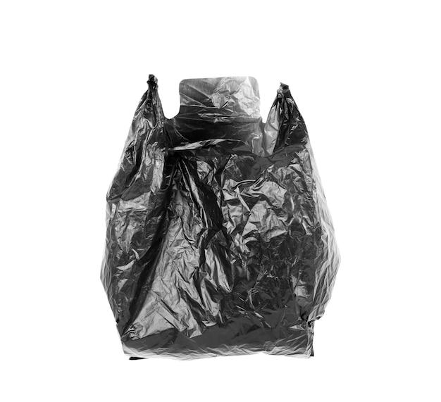 Zbliżenie worka na śmieci na białym tle ze ścieżką przycinającą