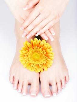 Zbliżenie zdjęcie kobiecych stóp w salonie spa na procedurę pedicure i manicure - nieostrość obrazu