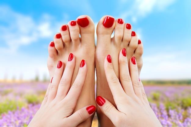 Zbliżenie zdjęcie kobiecych stóp z pięknym czerwonym pedicure na białym tle
