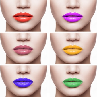 Zbliżenie zestaw usta kobiety z innym kolorem szminki. kryty na białym tle.