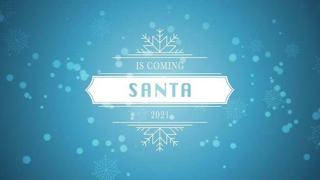 Zbliżenie zima nadchodzi i 2021 tekst, biały płatek śniegu i brokat na niebieskim tle śniegu. luksusowy i elegancki szablon stylu ilustracji 3d na ferie zimowe