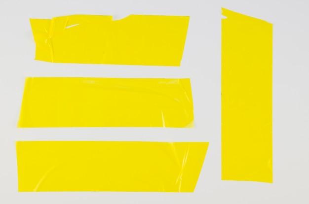 Zbliżenie żółta taśma kaczki z płasko ułożona