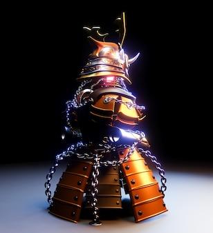 Zbroja bushido - zbroja wojownika samurajskiego w stylu japońskim. renderowanie 3d