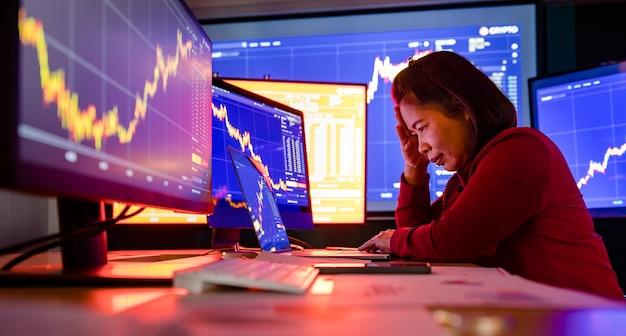 Zdenerwowany, nieudany makler maklerski siedzi zestresowany przy biurku roboczym w sali handlowej, trzymaj rękę na głowie, podczas gdy wartość giełdowa z raportu analizy wykresu na ekranie komputera spada.
