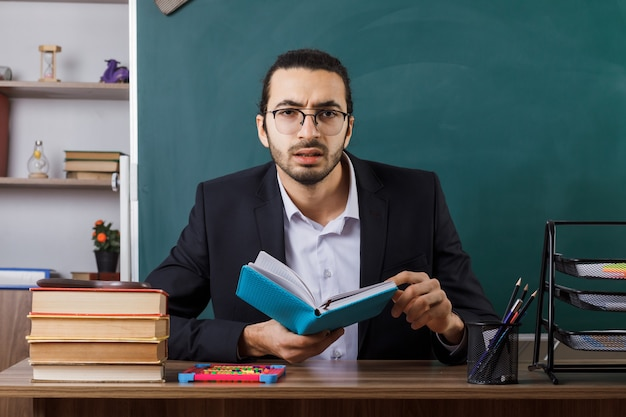 Zdezorientowany nauczyciel w okularach, trzymający książkę, siedzący przy stole z szkolnymi narzędziami w klasie
