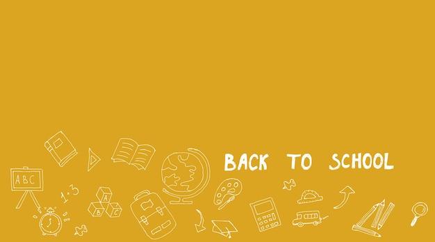 Zdjęcia koncepcyjne, powrót do szkoły na żółtym tle, koncepcja innowacji i rozwiązania z miejscem na kopię