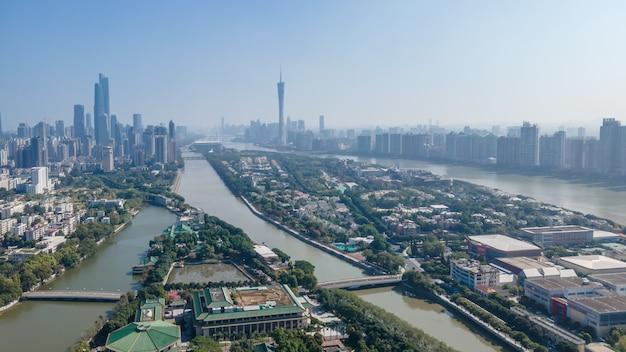 Zdjęcia lotnicze chiny kanton nowoczesne miasto architektura panoramę krajobrazu
