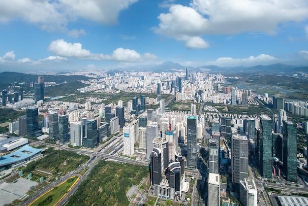 Zdjęcia lotnicze panoramę krajobrazu architektury shenzhen