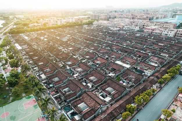 Zdjęcia lotnicze starożytnego miasta w dystrykcie chaoyang, miasto shantou, chiny