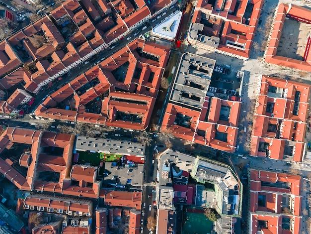 Zdjęcia lotnicze starych budynków w qingdao