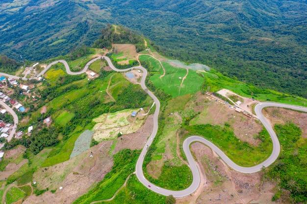 Zdjęcia lotnicze z niektórych serpentyn drogowych