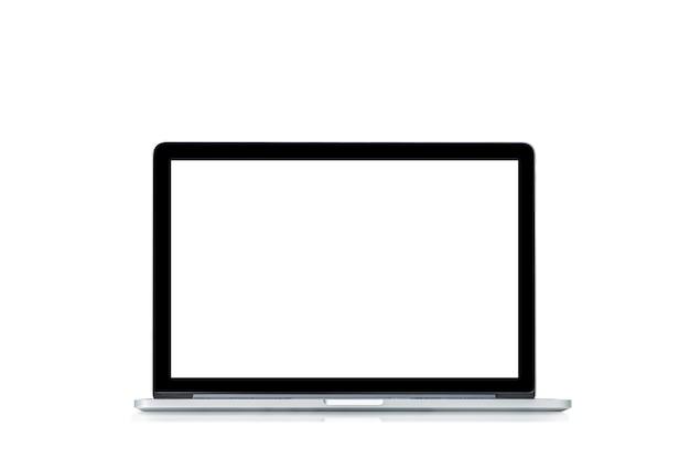 Zdjęcie laptopa nachylenie 90 stopni na białym tle.