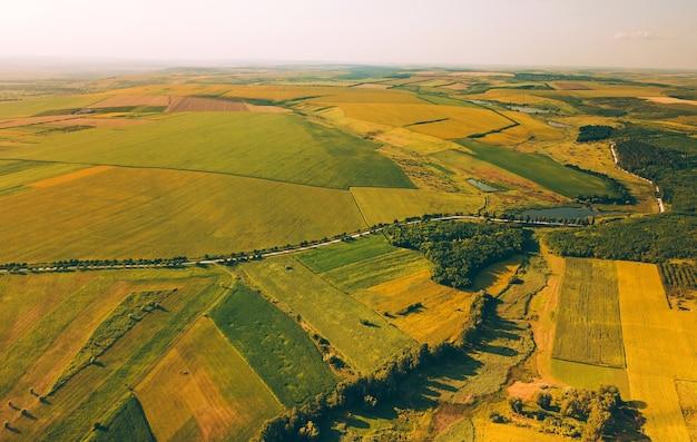 Zdjęcie lotnicze pięknego krajobrazu z niektórymi uprawami pszenicy i słoneczników