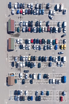 Zdjęcie lotnicze wypełnionego parkingu w pobliżu centrum handlowego